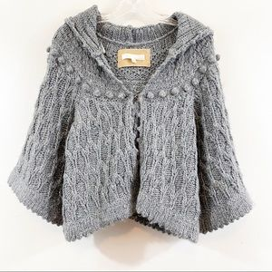 Kaisely Gray Chunky Knit Hooded Cardigan Sweater
